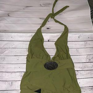 Women's tigerlily green one piece bathing suit